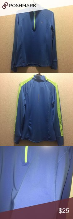 Nike Running Dri-Fit zip up only worn one time. 1/4 zip up. has a tiny stain shown in the forth picture. it actually shows less in person that it does in the picture. it's barely noticeable. has thumb holes. Nike Tops
