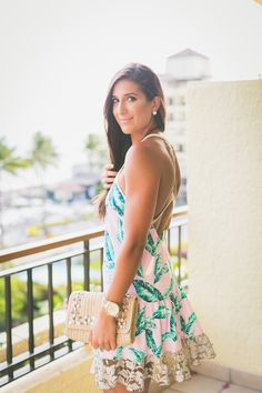 palm print dress, palm print racerback dress, embellished straw clutch, vacation fashion, tropical outfit // @asoutherndrawl