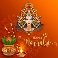 Happy Navratri Wishes, Happy Navratri Images, Navratri Messages, Happy Dusshera, Navratri Festival, Lakshmi Images, Happy Images, Durga Puja, Beautiful Goddess