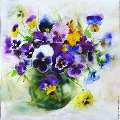 Купить Анютины глазки. Акварель - фиолетовый, анютины глазки, цветы, акварель, акварельная картина
