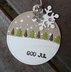 Lawn Fawn - Snowy Backdrops, Forest Border, Stitched Hillside Borders, Stitched Circle Tags, Stitched Snowflakes _ Christmas Tag by Catarina via Flickr _ https://flic.kr/p/AKNmMM | God Jul | Inspired by Nancy!
