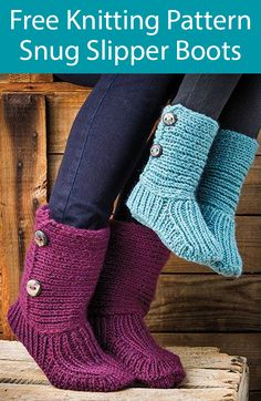 Free Knitting Pattern for Snug Slipper Boots - Cozy cuffed slippers for the family. Finished sizes includes Child's and Woman's S (M, L). Bulky yarn. Designed by Lena Skvagerson. This pattern was featured in Season 10 of Knit and Crochet Now! and is free with registration at Annie's