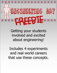 by Adrienne Meldrum: FREE Engineering Day-- 4 experiments you can do easily in the classroom with items you have handy!Why should you consider having an Engine...