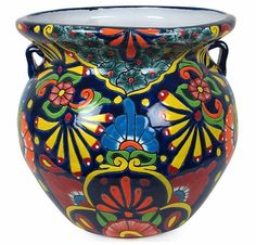 Talavera Flower Pots, Planters and Mexican Garden Pottery Talavera Pottery, Ceramic Pottery, Painted Pots, Hand Painted, Mosaic Glass, Glass Art, Mexican Garden, Mexican Flowers, Porcelain Ceramics