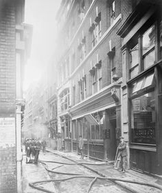 Bomb damage to Addle Street, near London Wall in the City of London, EC2, following the Zeppelin raid on the night of 8 - 9 September 1915.