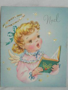 "Vintage Christmas Card ""Joy To The World"" Singing Angel w/glitter"