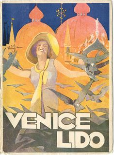 """Front cover of a travel brochure for Venice Lido, 1934. Published by the City of Venice. Signed """"Tanozzi,"""" designed by """"Tridentum - Trento,"""" published by """"Soc. Acc. Stamperia Zanetti - Venice."""""""
