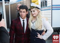 Nick Jonas and Meghan Trainor at the iHeartRadio Music Awards which broadcasted live on NBC from the Shrine Auditorium in Los Angeles on March 29. (Photo: Joseph Llanes for iHeartRadio)
