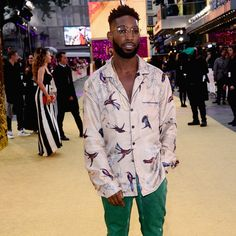 Exotic prints, as we at MR PORTER keep saying, are a big story in menswear right now. And few come more exotic than the hummingbird motif emblazoned on the camp-collar shirt-jacket that Tinie Tempah wore to the Absolutely Fabulous premiere, a movie in which he has a fleeting cameo (along with Mr Jeremy Paxman, Ms Orla Guerin, Mr Jean-Paul Gaultier, Dame Edna Everage and, for all we know, Mr Noam Chomsky and President Vladimir Putin – unless they're being saved for the sequel).