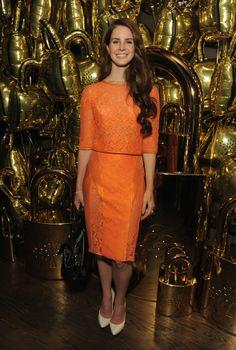lana del rey orange dress