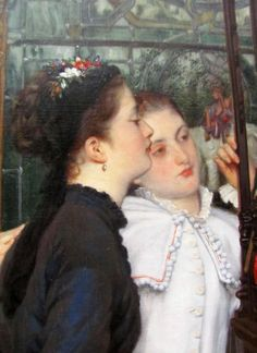 James Tissot - Young Ladies Looking at Japanese Objects detail ...