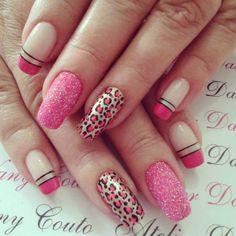 unhas decoradas rosa pink fosca com glitter passo a passo