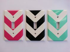 Classy Chevron vinyl light switch cover decal by BugzyBoutique, $2.25 Dream Rooms, Dream Bedroom, Girls Bedroom, Bedroom Decor, Blue Bedroom, Bedroom Ideas, Bedrooms, Electrical Outlet Covers, Electrical Outlets