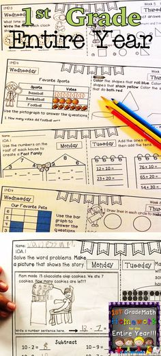 Math Homework for first graders! I love this resource because it is completely Common Core aligned, it reviews all math domains weekly, and it's only one page per week! Have a look, and try a free 2-week sample!