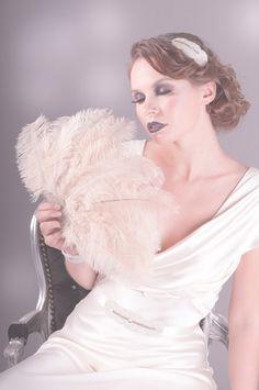 Mattie Ostrich Feather Fan in Champagne, 1920s, deco, ostrich, feather, bridal, wedding, fan