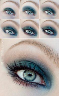 Holiday green HOW TO #green #makeup #eyes #eyemakeup #smokeyeyes #eyeshadow #howto #pictorial - bellashoot.com #partylook #holidaylook #christmas