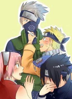 Hatake Kakashi, Uzumaki Naruto, Uchiha Sasuke, Haruno Sakura, team 7, drawing, funny, cute; Naruto