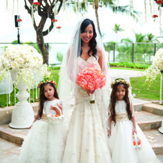 The bride chose a gown which blended femininity and tradition with a modern, sparkly look. (Four Seasons Resort Maui at Wailea)