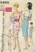 """An original ca. 1960 Simplicity Pattern 3464.  Misses' Dress and Jacket: """"Simple to Make."""" Sleeveless dress has square neckline and back kick pleat. Jacket has bateau neckline and back button closing. V. 1 jacket has short set in sleeves and embroidered eyelet edging, beading and ribbon trim. V. 2 sleeveless jacket has flap trim. Cummerbund is purchased."""