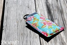 """This is a basic idea for making the """"play through the pouch"""" ipod cover. Going to pretty much do this, but make one side vinyl and also make the closure velcro so the boys won't fling the touch out of the case. Then hook it on a neck lanyard. Can't wait to try it! -boy fabrics of course :)"""