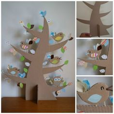 Cardboard tree and coctail-stick-feet birds. Cardboard Tree, Cardboard Crafts, Paper Crafts, Kids Crafts, Diy And Crafts, Craft Projects, Spring Crafts, Craft Activities, Diy For Kids