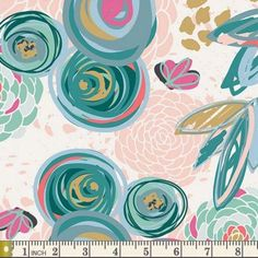 KNIT: Art Gallery Sprayed Blooms Subtle Cotton Lycra Knit Fabric. Sold by the 1/2 Yard
