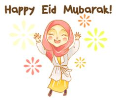 Express your chat with this stickers. Have a blessed fasting month for upcoming Eid Mubarak Eid Mubarak Card, Happy Eid Mubarak, Ramadan Cards, Mouth Mask Fashion, Hijab Cartoon, Muslim Girls, Line Sticker, D Day, Emoticon