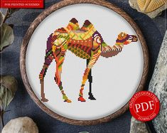 Mandala Camel Cross Stitch Pattern for Instant Download - 285 | Lovely Cross Stitch| Room Decor| Needlecraft Pattern| Easy Cross Stitch