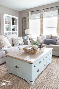 Love the coffee table and greige beige walls. Pretty living room style and home decor!