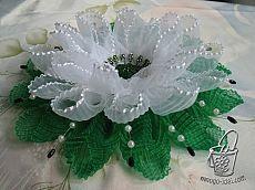 Krásná květina z vlnité pásky, a master class laloku - květiny z tkaniny a papíru