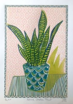 Potted Snake Plant by Alison  Headley