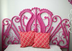 old wicker headboard + can of spray paint = awesome