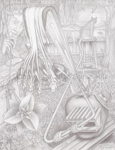 Dr. Applehead at the Lake Cottage #anatomy #surreal #fineart #fantasyart #blackandwhite #pencildrawing
