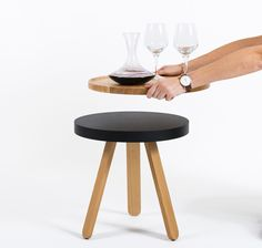Daniel García Studio is a Madrid, Spain based design studio and their latest project, Batea, is a side table with a removable serving tray.