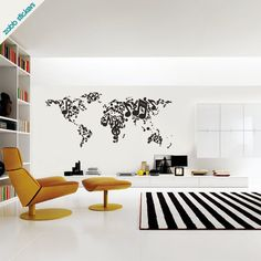 Music notes world map vinyl wall sticker by zabbstickers on Etsy