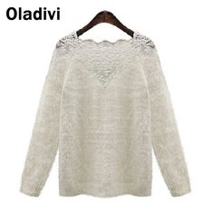 Find More Pullovers Information about XXXL Plus Size 2015 New Casual Crochet Knitted Sweaters Pullovers Women Lace Patchwork Mohair Tops Ladies Blouse Woman Clothing,High Quality blouse hot,China clothing lot Suppliers, Cheap clothing price from Oladivi Group - Minabell Fashion Store on Aliexpress.com