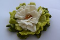 Wool Felted Flower Light Green White Blossom ombre by MaijaFeja, $24.00