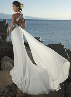 V-cou halter tribunal train robe de mariée