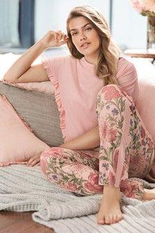 Womens Next Pink Floral Ruffle Sleeve Pyjamas - Pink Cute Sleepwear, Sleepwear Women, Nightwear For Women, Sleepwear & Loungewear, Night Wear Dress, Night Gown, Pyjamas, Night Suit For Women, Pijamas Women