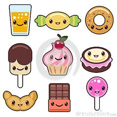 Candy kawaii food characters