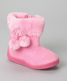 Take a look at this Pink Pom Bootie - Kids by Dooballo on #zulily today!