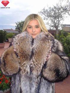 Chloe Moretz in raccoon fur coat by Queens-Of-Fur