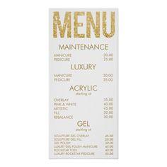 Black & Gold Glitter Salon Menu Wall Poster- Ad- What an awesome price list idea! Beauty Nail Salon, Home Nail Salon, Nail Salon Design, Beauty Salon Decor, Beauty Salon Interior, Salon Interior Design, Beauty Bar, In Home Salon, Home Beauty Salon