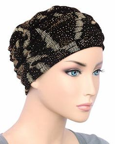 Glamour Cap Chemo Turban Plush Black with Silver Glitter for Women with Cancer, Chemo, Hair Loss Silver Glitter, Black Silver, Chemo Hair Loss, Hair Loss Women, Old Hollywood Glamour, Scarf Styles, Women Accessories, Cap, Turbans
