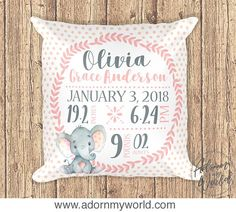 Girl Birth Announcement Pillow Personalized Birth Stat