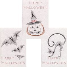 Halloween stitching cards have a spirograph-like look.