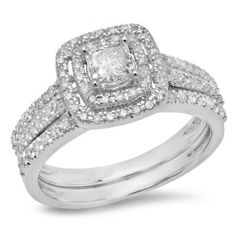 A dazzling princess cut diamond is the captivating centerpiece of this elegant engagement ring for her.Fashioned in 10K White Gold, the engagement ring showcases a stunning 0.45 ct. princess cut diamond center stone bordered with a cushion-shaped double frame of smaller round accent diamonds.Radiant with 0.95 ct. of diamonds and finished with a polished shine, this bridal set is a breath-taking and beautiful beginning to your eternal love story.