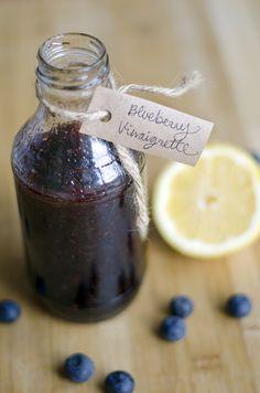 Blueberry Balsamic Vinaigrette- orange juice instead of lemon juice, and 2 dates instead of honey. Balsamic Dressing, Vinaigrette Dressing, Salad Dressing Recipes, Salad Dressings, Blueberry Salad, Blueberry Dressing Recipe, Blueberry Desserts, Vinaigrette, Entrees