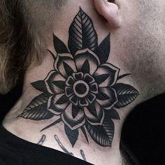Old School Flower Tattoo by Austin Maples #flower #traditional #blackwork #neck #blackworkneck #darkart #blackworkartist #AustinMaples:
