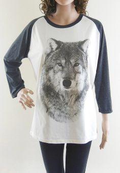 Wolf tshirt animal tshirt women shirt baseball shirt raglan shirt long sleeve shirt size S M L on Etsy, $18.63 AUD